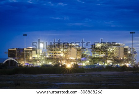 Construct oil and gas platform at dark