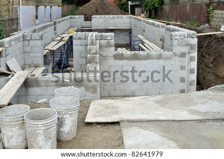 Constructing Foundation of new home - stock photo