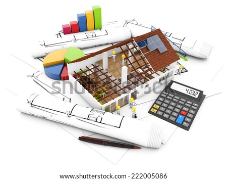 construction accountin concept: workers, house structure, calculator and graphics over technical draws isolated on white background