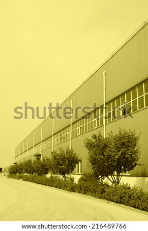construction and greening trees in a factory, north china