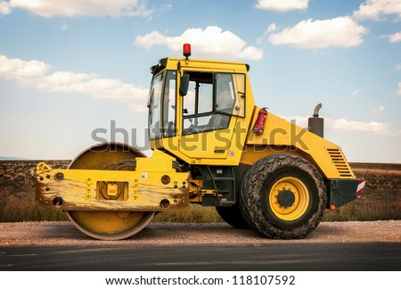 Construction and repair of roads and highways. Support activities for the construction of roads and highways. Road under construction. - stock photo