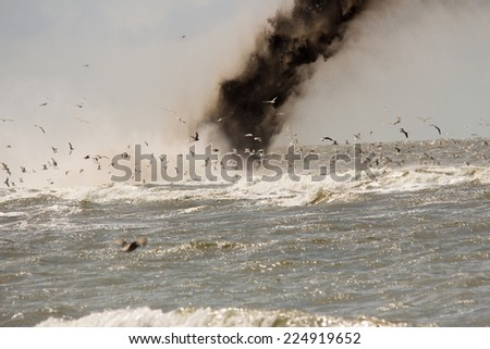 construction barriers dams north sea - stock photo