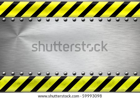 Construction borders and rivets on textured steel background - stock photo