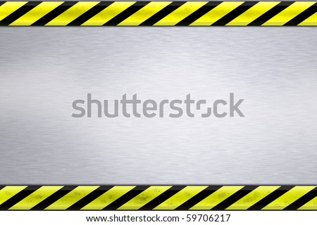 Construction borders on textured steel background
