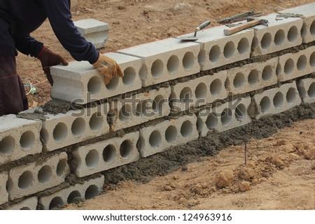 Construction. Bricks laying - stock photo
