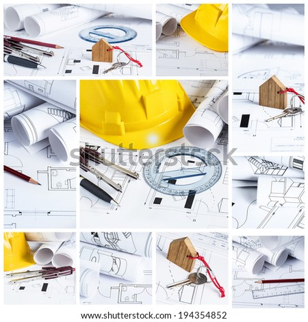 Construction collage concept with blueprints and architect tools - stock photo