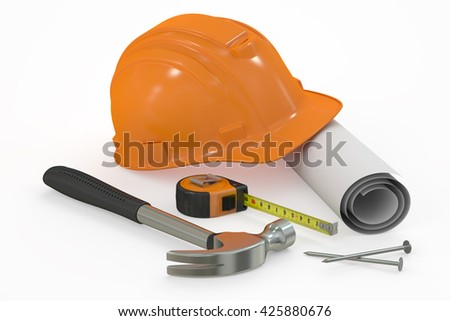 Construction concept. Hard hat with blueprint and tools, 3D rendering isolated on white background
