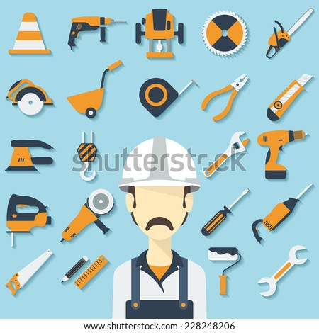 Construction concept with flat icons and builder. Raster version - stock photo