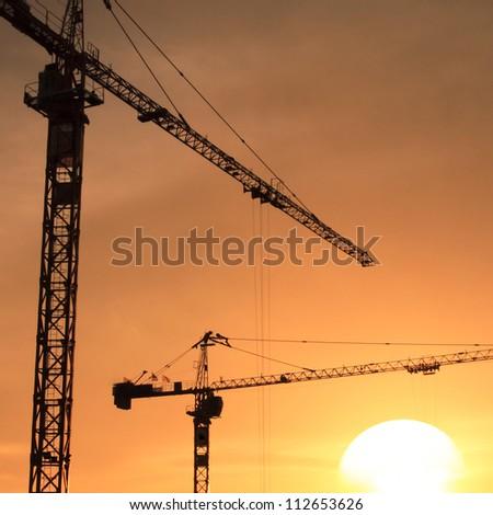 construction crane - stock photo
