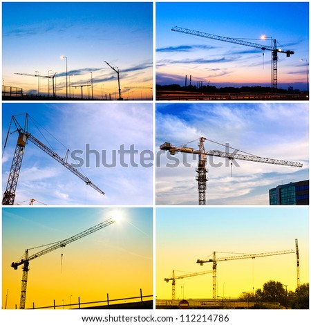 Construction crane collage - stock photo