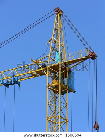 Construction crane top part with cabin