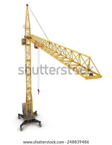 Construction crane, view from the bird's-eye view. 3d render illustration. - stock photo