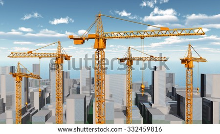 Construction cranes in a city landscape Computer generated 3D illustration - stock photo
