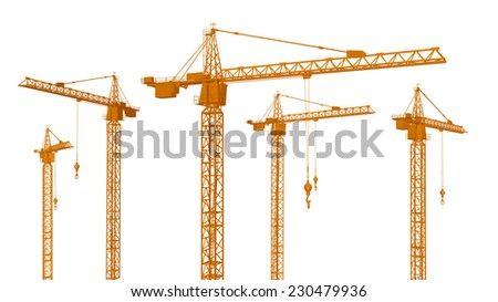 Construction Cranes isolated on white background Computer generated 3D illustration - stock photo