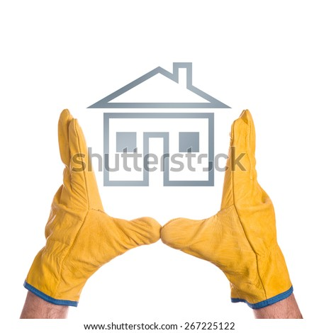 Construction Engineer Wearing Yellow Leather Protective Gloves Making House Project Plan, isolated on white background - stock photo