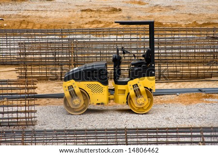 Construction equipment at a work site.