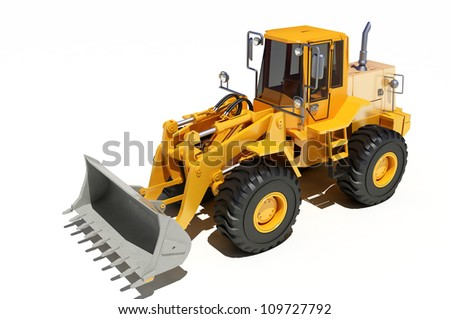 Construction equipment on a white background. - stock photo