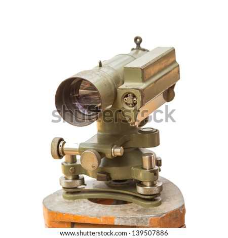 Construction equipment theodolite level tool isolated on white background - stock photo