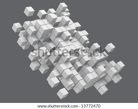 construction from white blocks on gray background