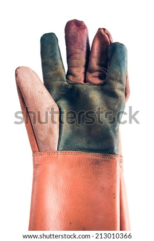 Construction gloves on white background - stock photo