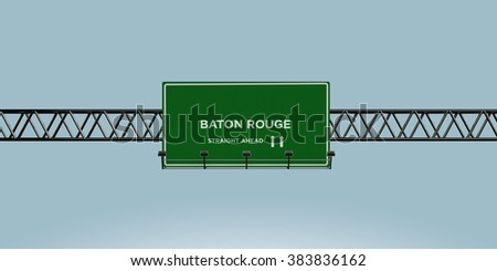 construction green road sign baton rouge straight ahead