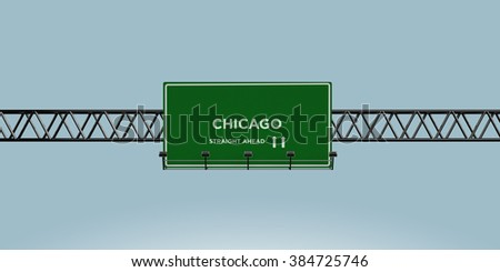 construction green road sign chicago straight ahead