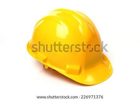 Construction Hard Hat on the white background. Isolated on white - stock photo