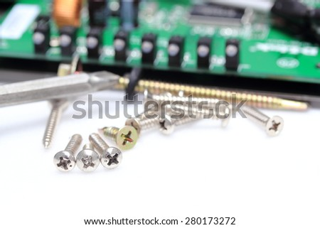 Construction Hardware: Screws, Bolts, Nuts and Rivets - stock photo
