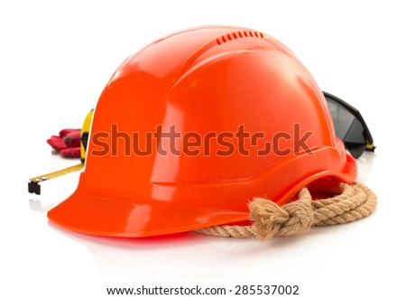 construction helmet and safety glasses on white background - stock photo