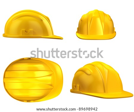 construction helmet from different views - stock photo