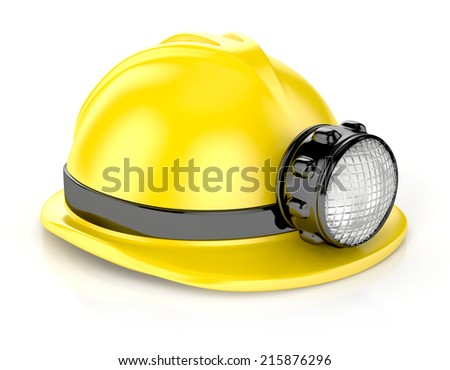 construction helmet with headlamp. 3d illustration isolated on white - stock photo