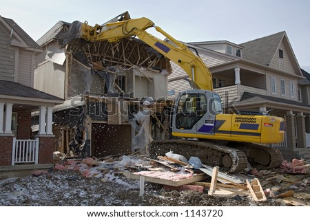 construction house after fire - stock photo