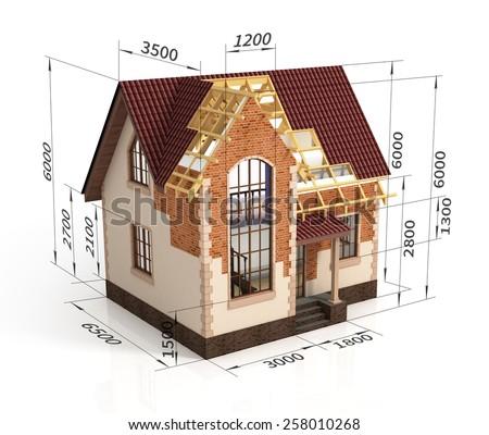Construction House Plan Design Blend Transition Stock