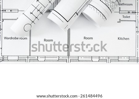 Construction house. Repair work. Drawings for building on white a background. - stock photo