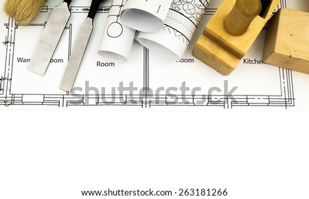 Construction house. Repair work. Joiner's works. Drawings for building and working tools on white background.