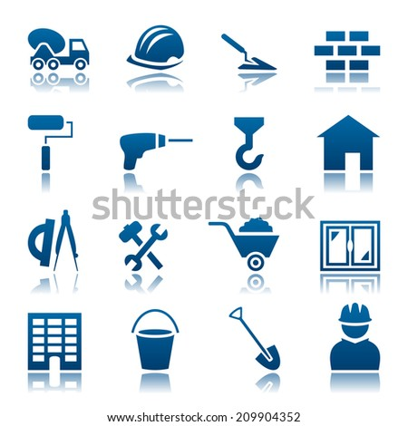 Construction icon set - stock photo