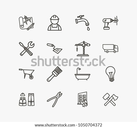 Construction icon set tools new building stock illustration construction icon set and tools with new building spatula and engineering blueprint acrylic related malvernweather Gallery