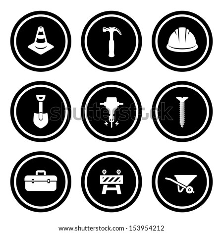 Construction Icon Set.  Raster version. - stock photo