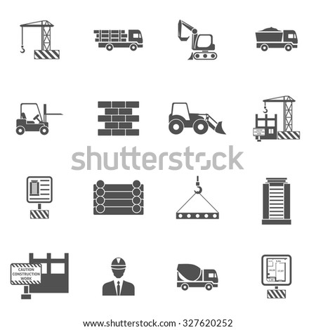 Construction icons flat black set with bulldozer mixer and lifter isolated  illustration - stock photo