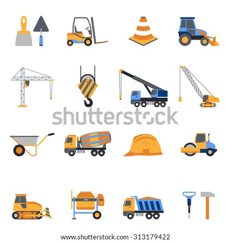 Construction icons set with builder tools and vehicles isolated  illustration