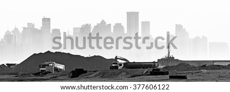 Construction Industry in doha - stock photo