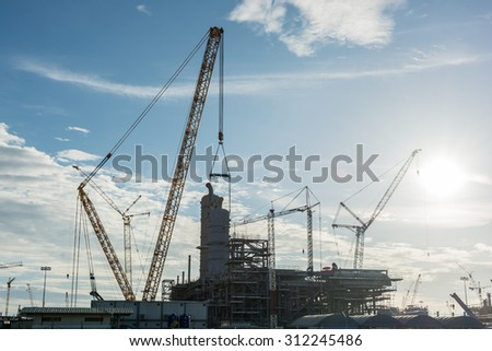 Construction Industry oil rig refinery working site, asia in Thailand - stock photo