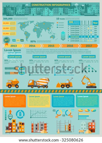 Construction infographics set with building machines symbols and charts  illustration - stock photo