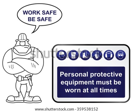 Construction mandatory health and safety sign with work safe be safe message isolated on white background - stock photo