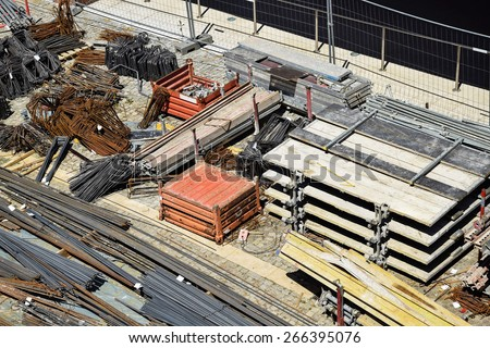 Construction materials at the construction site - stock photo