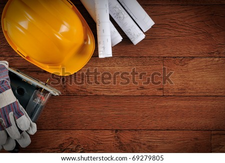 Construction object on wood with copy space.