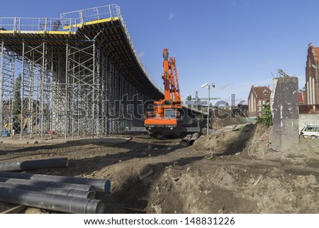 Construction of a bridge at the way New Walowa in Gdansk