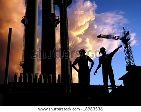 Construction of a building on a background of the sky - stock photo