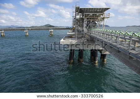 Construction of a coal unloading wharf for a new coal fired power plant - stock photo