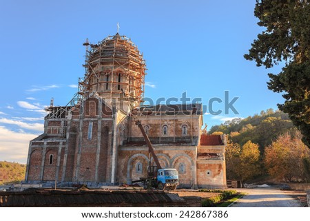 Construction of a new church in Sighnaghi, Georgia - stock photo